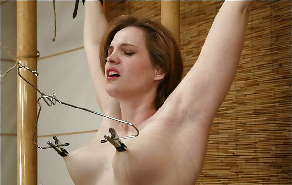 Binder clips and nipple play with nails digging in